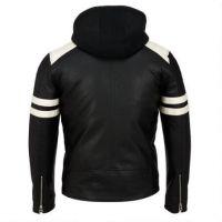 2017 fashion design mens black leather Neoprene Hooded Jacket