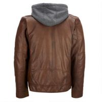 Justanned Mens Hooded Leather Jacket
