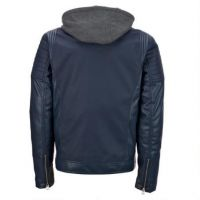 mens soft thin leather hooded pu leather jacket