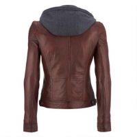 black faux leather hooded fur hooded jackets for women, fur hood women