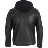 American Style Fashion Mens Leather Hooded Motorcycle Coat and Jacket