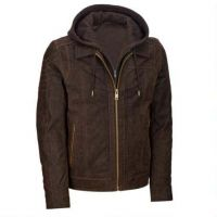 Leather Jacket with Hood/nappa leaher jacket for men