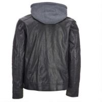 high quality black hooded varsity faux leather jackets for men
