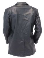 black Two Button  Leather Jacket coat