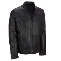 Biker leather jacket with belt for man