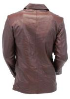 Chocolate Brown Two Button   Leather Jacket coat