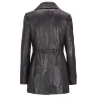 Black Leather Ladies Long Coats Woman Fashion Ladies Long Coats