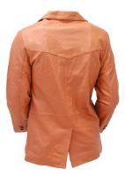 Light Brown Two Button   Leather Jacket coat