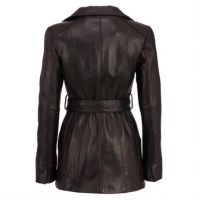 New product simple design women long real leather coat from manufacturer