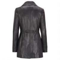Real leather long coats with whole-hide fox fur collar