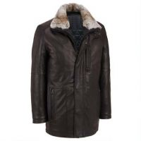 Fashion outwear mens leather trench coat