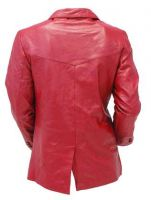 Burgundy colour Two Button  leather coat