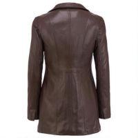 European women pure ivory white double PU skin straight long coat lady leather