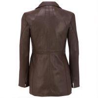 Winter Womens Long Warm PU Leather Sleeve Jacket Coat with belt