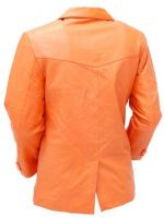 Mango/Orange Two Button leather coat