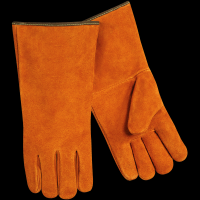Long-Cuff Cowhide Split Leather Stick Gloves