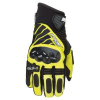 2018  black and yellow leather bike gloves