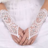 Wedding Planning Women's Rhinestone Pierced Lace Satin Bridal Gloves
