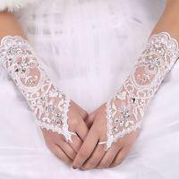 Wedding Planning Women's Rhinestone Pierced Lace Satin Bridal Gloves