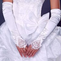 "19"" Lace Embellished Pleated White color Fingerless Gloves Bridal Wedding Gloves"