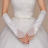 white pearl beaded satin wedding bridal gloves