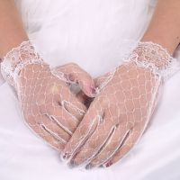 Elegant lace white pearl embroidery bridal wedding gloves for women