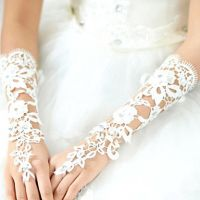 bow-knot pearl beaded short tulle wedding gloves fingerless bridal lace gloves