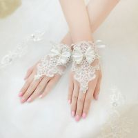 Fingerless Beaded Lace Wedding Gloves
