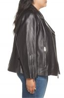 black shine  leather jacket