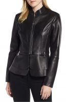 feminine silhouette women  leather jacket