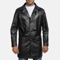2018 black   leather long coat