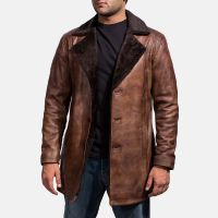 2018 brown leather long coat