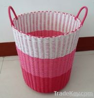 Plastic woven Laundry basket storage basket