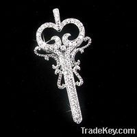 sterling silver charms pendant with CZ rhodium plating