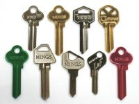 Brass key blank and colors key blank