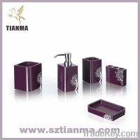 5 pcs acrylic purple bath sets with flower printed