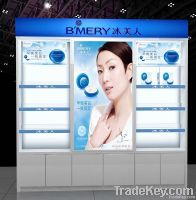 white acrylic cosmetics display stand with logo