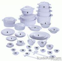 Fataco melamine dinnerware set blank white plates, bowls, saucers, ova