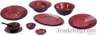 Red and black Japanese style melamine dinnerware set with plates, bowl