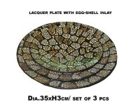 New design set of three lacquer plate with egg shell inlay
