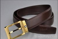 golden buckle men's leather belt
