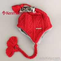 Plush Earflap Hat, Hot Selling Knitted Wool Beanie Hat