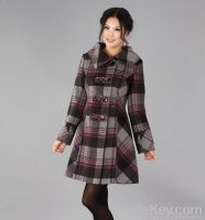 Lady Fashion High Quality Check Wool Coat