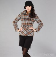 Woman England Style Duffle Check Wool Coat