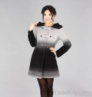 Elegant Slim Line Gradient Black Grey Hooded Wool Coat