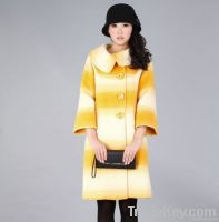 Woman Elegant Gradient Yellow A-line Wool Coat