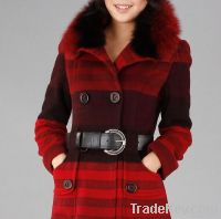 Fashion Gradient Black Red Fox Fur Collar Wool Garment
