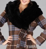 Woman England Check Turndown Rabbit Fur Collar Wool Tweed Coat