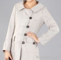 Woman Beige Turndown Collar Spring Wool Coat