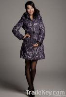 Woman Elastic Belted Leopard Duck Down Coat 10104038